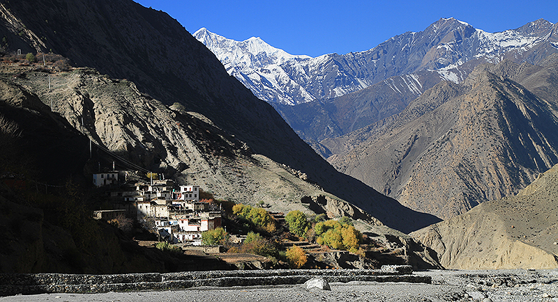 The village of Lubrak was established in the 12th Century in this remote mountain valley in Lower Mustang. The Chasey Kengtse Hostel and school is located just above the village.